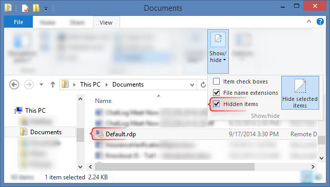 Default.rdp and Documents
